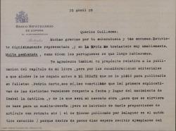 """Carta de Félix de Llanos y Torriglia a Guillermo Fernández-Shaw comentando varios temas sobre sus obras literarias y lamentando no poder ayudarle en cierto tema relacionado con """"La severa"""" y Julio Dantas."""