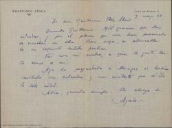 Carta de Francisco Ayala a Guillermo Fernández-Shaw, dándole las gracias por unas entradas para el teatro.