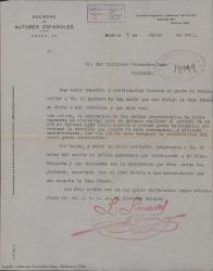 Carta de la Sociedad de Autores Españoles a Guillermo Fernández-Shaw, comentándole un comunicado recibido de la casa de discos Odeón dando cuenta de un error cometido en la liquidación de sus obras vendidas en el último trimestre.
