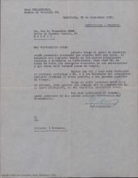 Carta de Geza Pollatschik a Guillermo Fernández-Shaw, enviándole el borrador de contrato prometido de acuerdo a lo acordado verbalmente.