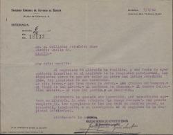 Carta de la Sociedad General de Autores de España a Guillermo Fernández-Shaw, comunicándole la inscripción en el Registro de la Propiedad Intelectual de unas obras de su padre, Carlos Fernández Shaw.