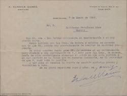 Carta de E. Bassols Massiá a Guillermo Fernández-Shaw, sobre el pago de una cantidad a las señoras de Morera.
