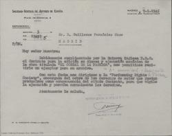 Carta de la Sociedad General de Autores a Guillermo Fernández-Shaw, enviándole un ejemplar de un contrato firmado para la edición en discos y ejecución mecánica de una obra para su archivo.