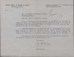 """Carta del delegado de la Sociedad General de Autores de España en Mallorca a Guillermo Fernández-Shaw confirmándole el embarque de la compañía """"Lope de Vega"""" hacia la península."""