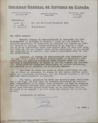 Carta de la Sociedad General de Autores de España a Guillermo Fernández-Shaw comunicándole una reorganización de los almacenes de materiales que afectan a ejemplares de obras suyas.