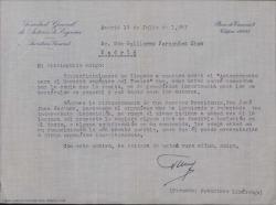 Carta de la Sociedad General de Autores de España a Guillermo Fernández-Shaw, enviándole una copia de un anteproyecto para el Decreto Orgánico del Teatro solicitando su opinión sobre el texto.