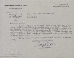 Carta de la Sociedad General de Autores de España a Guillermo Fernández-Shaw en relación con un contrato sobre una traducción.