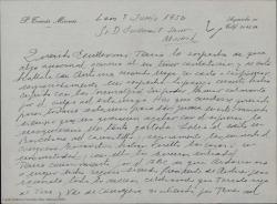 Carta de Pedro Tomás Mironés a Guillermo Fernández-Shaw, interesándose por su salud y comentándole sus proyectos personales.