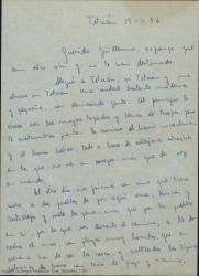 Carta de Joaquín [?] a Guillermo Fernández-Shaw, contándole como pasan sus días de destino en Tetuán.