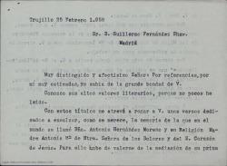 Carta de Juan Tena Fernández a Guillermo Fernández-Shaw, pidiéndole por favor escriba unos versos en recuerdo de una religiosa fallecida recientemente.