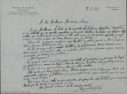 """Carta de Miguel de Castro a Guillermo Fernández-Shaw, comentándole que conoce a una bailarina argentina que tiene interés en llevar a escena """"su ballet""""."""