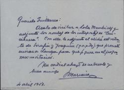 """Carta de Mariano [?] a Guillermo Fernández-Shaw, adjuntándole el listado de intérpretes de """"La cancionera"""" y el cliché de un retrato de los hermanos Álvarez Quintero."""