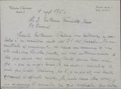 Carta de Victorino Echevarría a Guillermo Fernández-Shaw, adjuntándole el resumen de su vida artística tal como éste le ha solicitado.