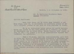 Carta de Luis Fernández Ardavín a Guillermo Fernández-Shaw, deseando que su viaje por América esté siendo un éxito y agradeciéndole sus gestiones allí en asuntos relacionados con la Sociedad General de Autores de España.