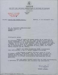 Carta de Robert Achard a Guillermo Fernández-Shaw, acusando recibo de la autorización a su nombre para retirar el dinero, que le corresponde a éste, de la cuenta del editor Max Eschig en París durante su próximo viaje.