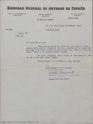 Carta de la Sociedad General de Autores de España a Guillermo Fernández-Shaw, adjuntando el informe de Javier Regás sobre una cuestión sometida a arbitraje que incumbe al propio Javier Regás entre otros.