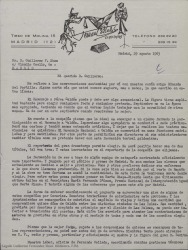 Carta de Fernando Collado a Guillermo Fernández-Shaw, hablando sobre un homenaje a Benito Pérez Galdos que quieren preparar.