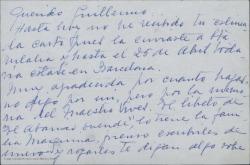 """Cartas de Concepción Roig, viuda de Amadeo Vives, a Guillermo Fernández-Shaw, hablando sobre un proyecto en relación con """"El abanico duende""""."""