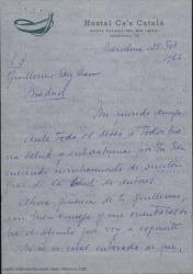 """Carta de Concepción Roig, viuda de Amadeo Vives, a Guillermo Fernández-Shaw, encomendándole el original de """"El abanico duende"""" pidiéndole se encargue de la terminación de la obra, confiando plenamente en su criterio."""