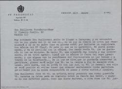 Carta a Guillermo Fernández-Shaw, de firma ilegible, dándole las gracias por una composición que le ha enviado y proponiéndole hacer más letras con temas religiosos.