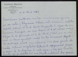 Carta de Leopoldo Magenti a Guillermo Fernández-Shaw, comunicándole la muerte de su mujer y sus dos cuñadas en el plazo de un mes, circunstancias que justifican su silencio durante estos meses.