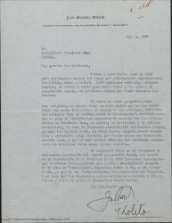 Carta de Juan Manuel Puente a Guillermo Fernández-Shaw, comunicándole su próxima llegada a España con motivo de la realización de un Festival de la Sociedad Internacional de Música Contemporánea y su deseo de poder saludarle personalmente.