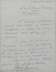 Carta de Yolanda Monreal a Guillermo Fernández-Shaw, agradeciéndole profundamente sus elogios y su ofrecimiento de ayuda.