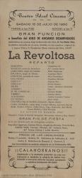 """Programa de mano de """"La revoltosa"""", original de J. López Silva y C. Fernández Shaw, música del Mtro. Chapí : Teatro Ideal Cinema (Calahorra)."""