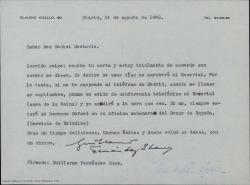 Carta de Guillermo Fernández-Shaw a Daniel Montorio, diciéndole que está totalmente de acuerdo con él en todo e indicándole como puede contactar con él en El Escorial.