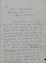 """Borrador de carta de Cecilia Iturralde a Henri Perchelet, pidiéndole de las órdenes oportunas para que pueda percibir las cantidades que en concepto de derechos de autor del libro de """"la vida breve"""" le correspondenden tras su representación en París."""