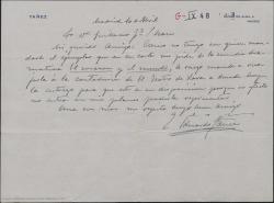 """Carta de Eduardo Yañez a Guillermo Fernández-Shaw devolviéndole el ejemplar de """"El corazón y el mundo"""" porque no entra en sus planes poderla representar."""