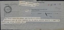 Telegrama de Moll [?] a Guillermo Fernández-Shaw diciendo que la Compañía Lope de Vega salió para Huesca.