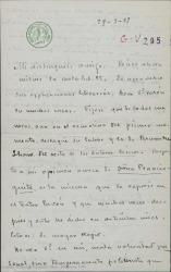 Carta de Emilio Carrere a Federico Romero, acusando recibo de su carta, agradeciéndole sus razonables explicaciones literarias y recordándole que él siempre a destacado tanto su labor como la de Guillermo Fernández-Shaw.