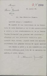 Carta de Joaquín Álvarez Quintero a Federico Romero dándole las gracias a él y a sus colaboradores en nombre de la directiva del Montepío de Autores Españoles por el donativo para su caja social.