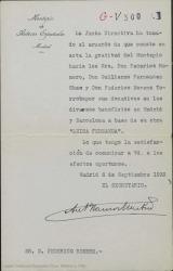"""Carta de Antonio Ramos Martín a Federico Romero agradeciendo a los autores de """"Luisa Fernanda"""" los donativos al Montepío de Autores Españoles de los beneficios en Madrid y Barcelona."""