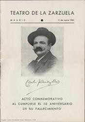 Carlos Fernández Shaw : acto conmemorativo al cumplirse el 50 aniversario de su fallecimiento : Teatro de la Zarzuela, Madrid.