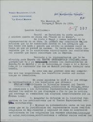 """Carta de Tomás Baldasano a Guillermo Fernández-Shaw, alegrándose de sus éxitos y explicándole los términos de la representación para España de """"Teatro Sperimentale Italiano"""" que le propone compartir."""