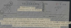 "Telegrama de Federico Romero a Guillermo Fernández-Shaw, contándole el éxito de ""Peñamariana"" en Lisboa."