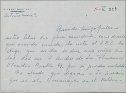 Carta de María Luisa Álvarez Quintero a Guillermo Fernández-Shaw, con pormenores sobre el homenaje a sus hermanos.