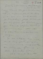 Borrador de carta de Guillermo Fernández-Shaw a Federico Romero, hablando de temas teatrales.