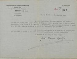 """Carta de José Ramos Martín a Guillermo Fernández-Shaw, cumplimentando las órdenes que da en nombre de él y de sus colaboradores, autorizando al Teatro de la Zarzuela a radiar """"La tabernera del puerto""""."""