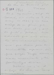 Escrito de Guillermo Fernández-Shaw, sobre un guión recibido de una obra de Molière para Toldrá.