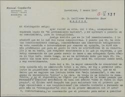 Carta de Manuel Capdevila a Guillermo Fernández-Shaw acusando recibo de la esperada copia de una obra de Molière, poniéndole algunos peros y diciendo que se la entregará a Toldrá cuando llegue de Bilbao.