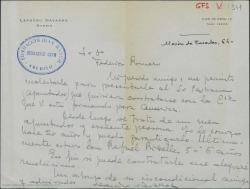 Carta de Leandro Navarro a Federico Romero recomendándole a un conocido para un trabajo de apuntador.