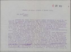 """Carta de Federico Romero a René Blum, agradeciendo su colaboración en el estreno de """"Doña Francisquita"""" en París. Hablándole de la obra para hacerla en cine y de los derechos de dicho film."""