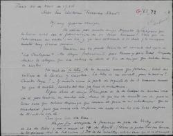 """Carta de André Badet a Guillermo Fernández-Shaw, dándole el pésame por su tío Rafael. Le da la enhorabuena por el éxito de """"La chulapona"""" y comenta temas relacionados con """"Doña Francisquita""""."""