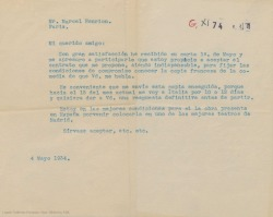 """Carta de Federico Romero a Marcel Henrion, aceptando el contrato que le propone, siendo indispensable conocer la copia francesa de la obra, """"Doña Francisquita""""."""