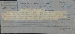 "Telegramas de Radio-París, pidiéndole a Federico Romero el material completo para radiar ""Doña Francisquita""."