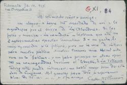 """Tarjeta postal de Gilberto Beccari a Federico Romero, agradeciéndole el envío de """"Las alondras"""" que piensa no será del gusto del público italiano y pidiéndole le envíe el libreto de """"La villana""""."""