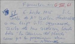 """Carta de Cecilia Iturralde a su hijo Guillermo Fernández-Shaw, acusando recibo de sus noticias tanto de """"La canción del olvido"""" como de """"La sonata de Grieg"""", su próximo estreno."""